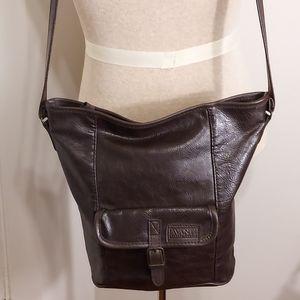 Avanti Brown Leather Bucket Style Tote Bag/Crossbody/Hobo